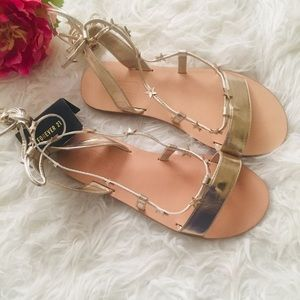 NWT Forever 21 Gold Ankle Wrap Sandals. Size 6